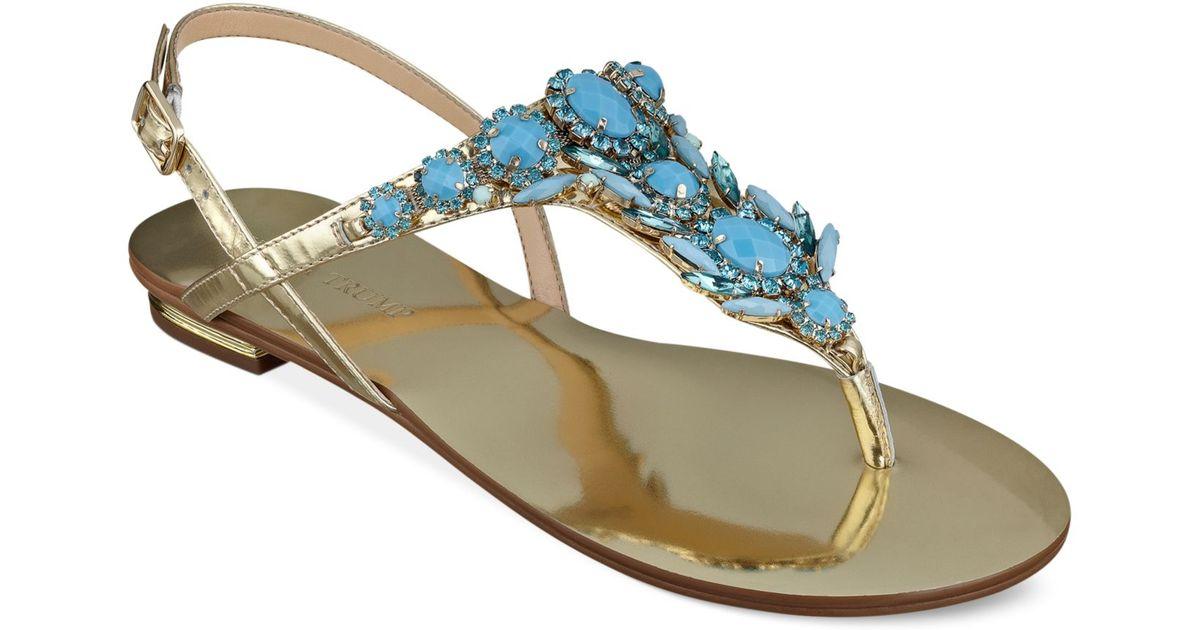 8e55c134c8d1 Lyst - Ivanka Trump Fona Jeweled Thong Sandals in Blue