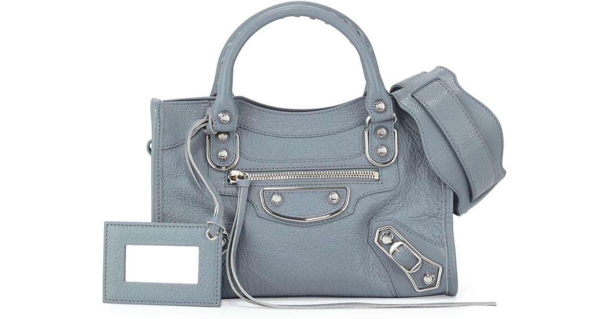 33097fa1930d68 Balenciaga Mini City Metallic-Edge Goatskin Satchel in Blue - Lyst