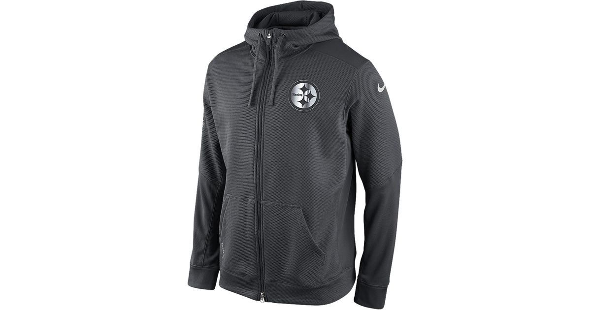 cute cheap the latest official photos Nike Gray Men'S Pittsburgh Steelers Platinum Ko Chain Full-Zip Hoodie for  men