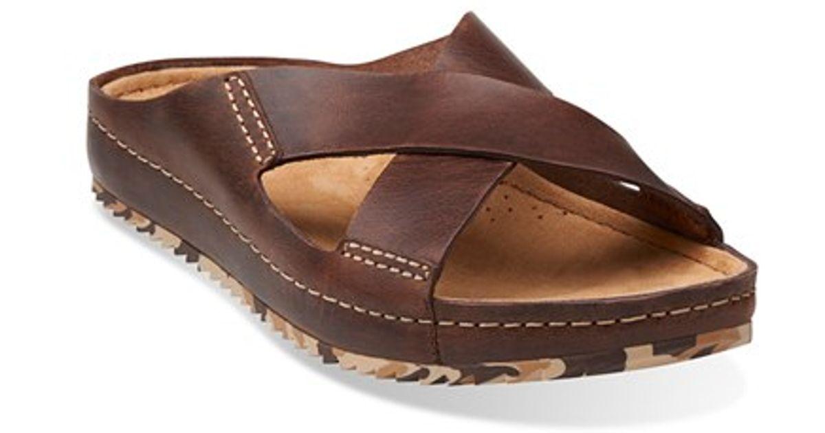 23aec1c22 Lyst - Clarks Clarks  netrix Cross  Leather Slide Sandal in Brown for Men