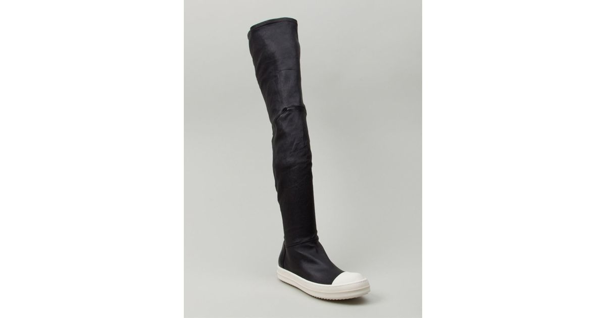 Rick Owens Women's Black Thigh High Sneaker Boots