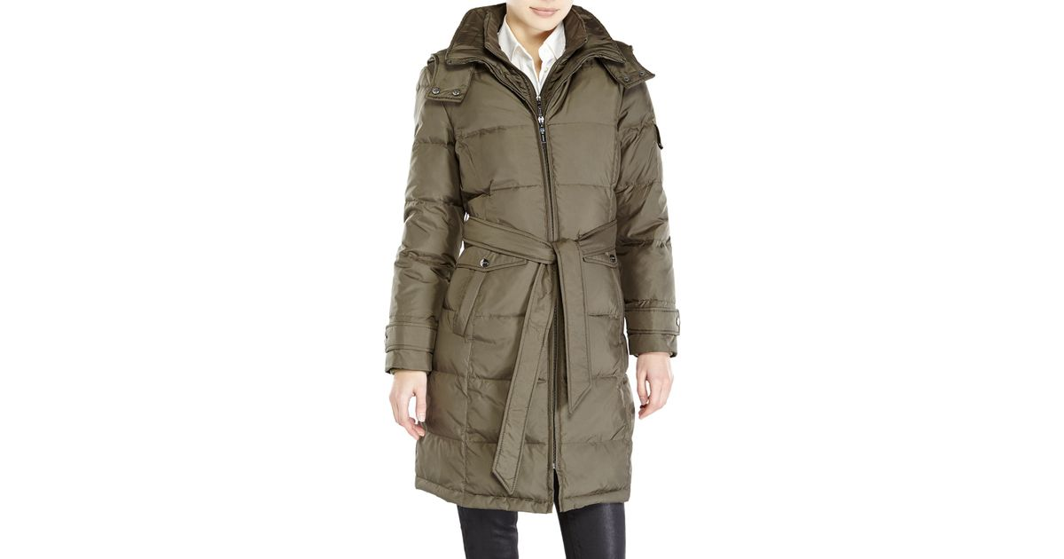 5d03a4223e5 Ellen Tracy Green Petite Belted Long Down Coat