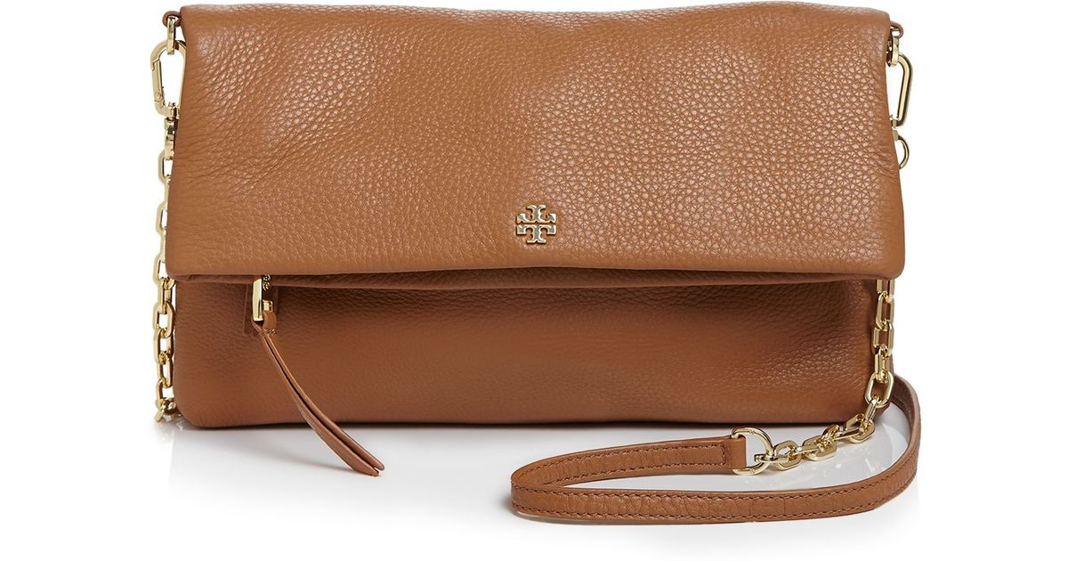 587a5d58681a70 ... greece tory burch foldover crossbody in brown lyst d8f53 429a5