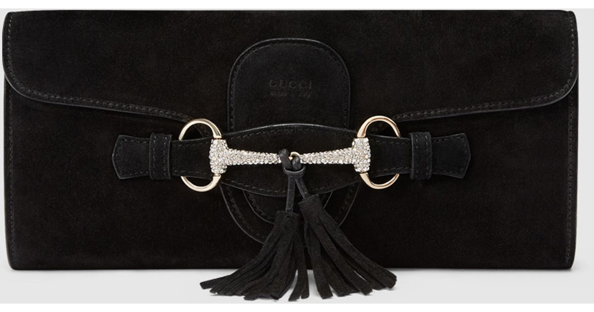 206d350170dc55 Gucci Broadway Suede Horsebit Clutch in Black - Lyst