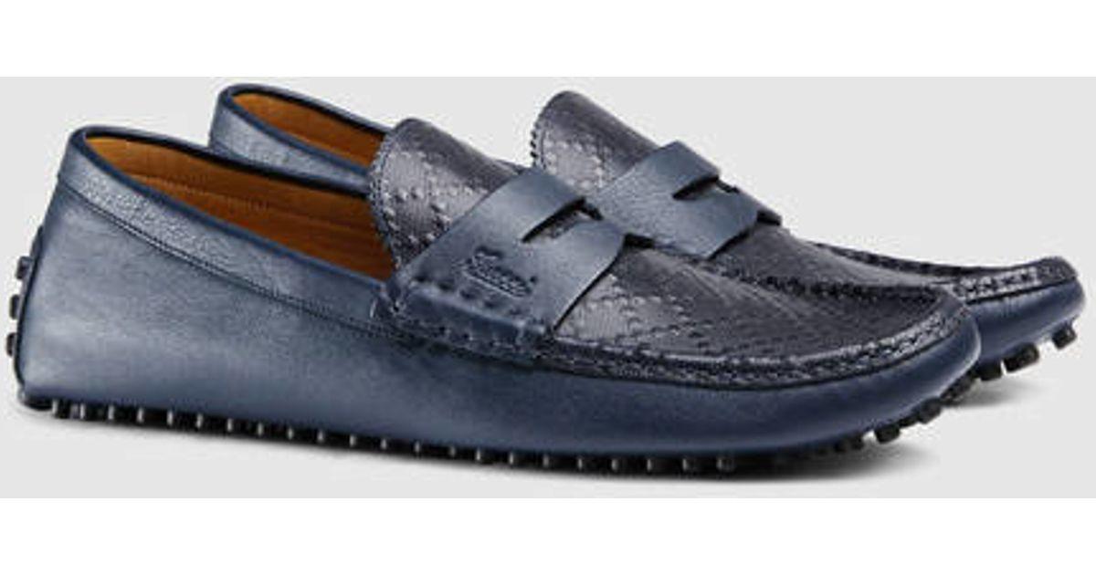 df5cbb62f Lyst - Gucci Diamante Leather Driver in Blue for Men