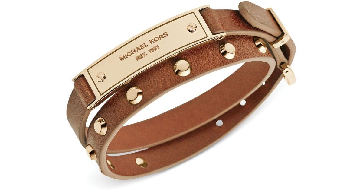 Michael Kors Metallic Goldtone Stud And Plaque Luggage Leather Wrap Bracelet