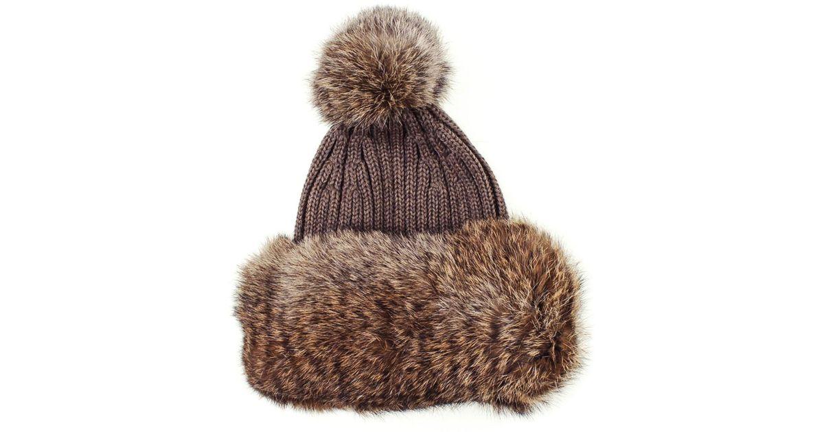 536d47d9492 Lyst - Black.co.uk Taupe Rabbit Fur Bobble Hat Description Delivery   Returns  Reviews in Brown