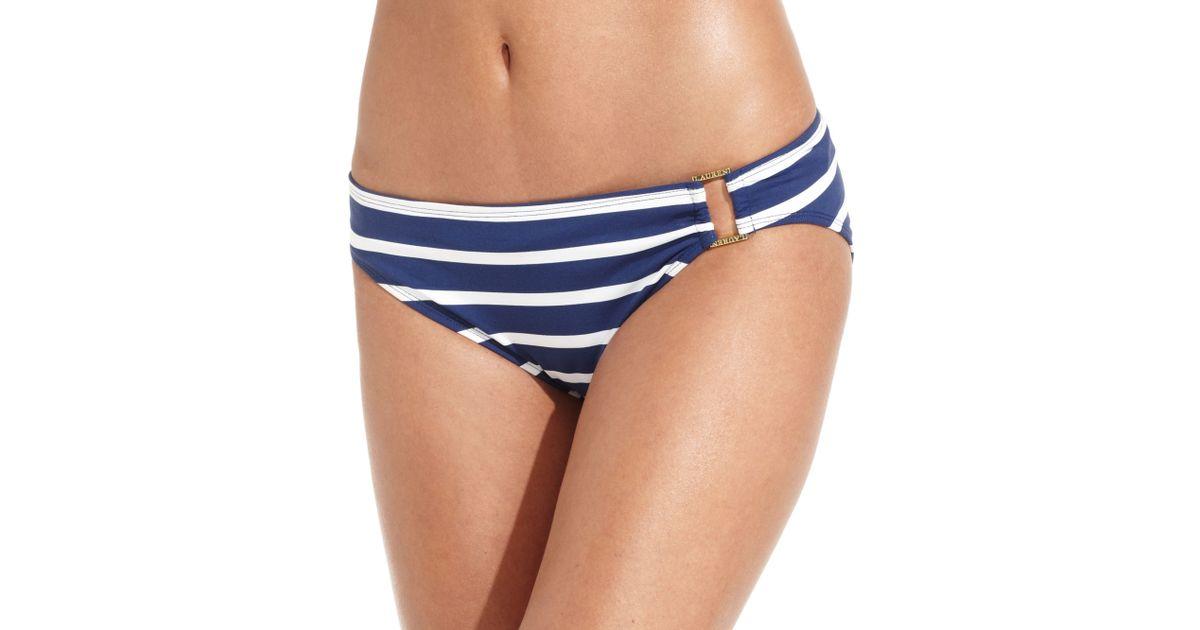 26d2206268e86 Lyst - Lauren by Ralph Lauren Striped Buckle Hipster Bikini Bottom in White