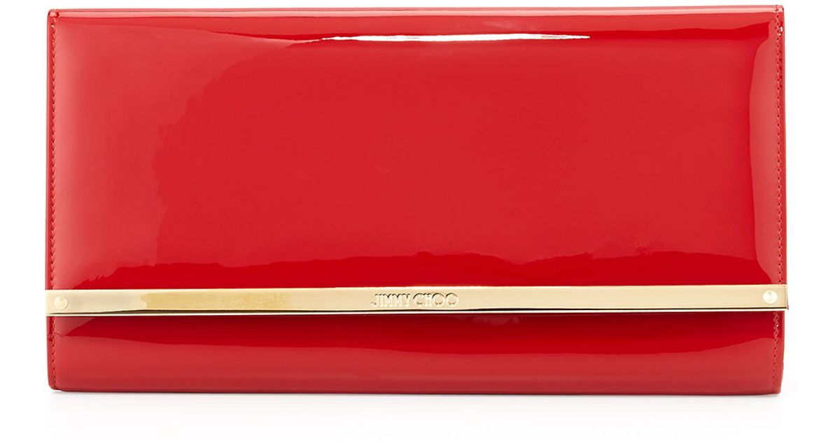 Jimmy choo Maia Large Patent Wallet Clutch Bag in Red | Lyst
