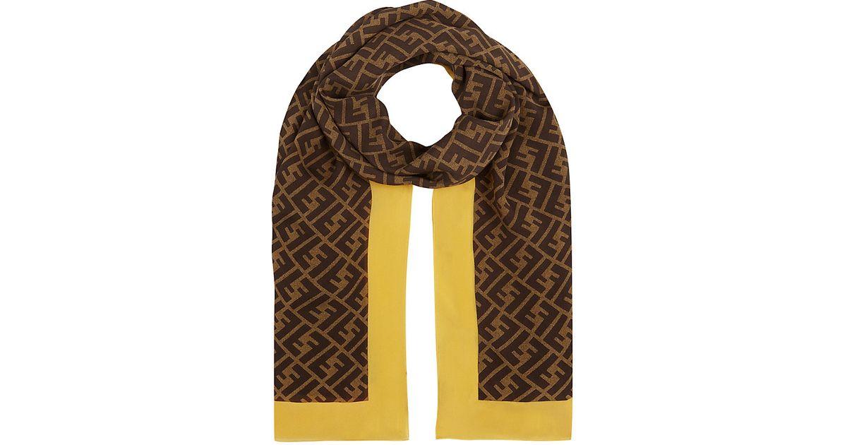 fendi zucca logo silk scarf in brown lyst
