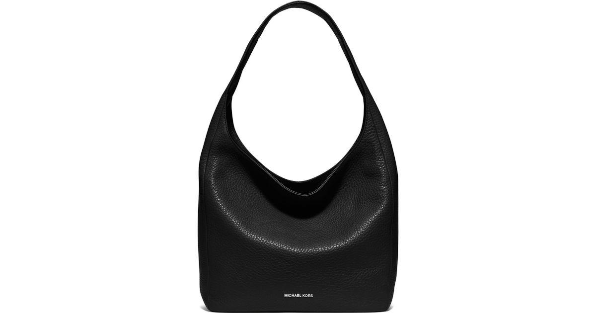 Michael michael kors Lena Large Leather Hobo Bag in Black | Lyst