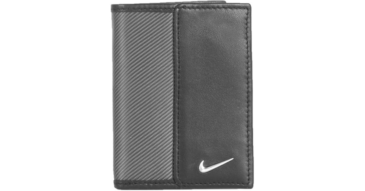 Nike Leather Amp Tech Twill Money Clip Card Case In Grey