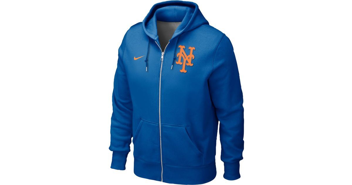 watch 2c108 7220e Nike Blue Men'S New York Mets Full-Zip Hoodie Sweatshirt for men