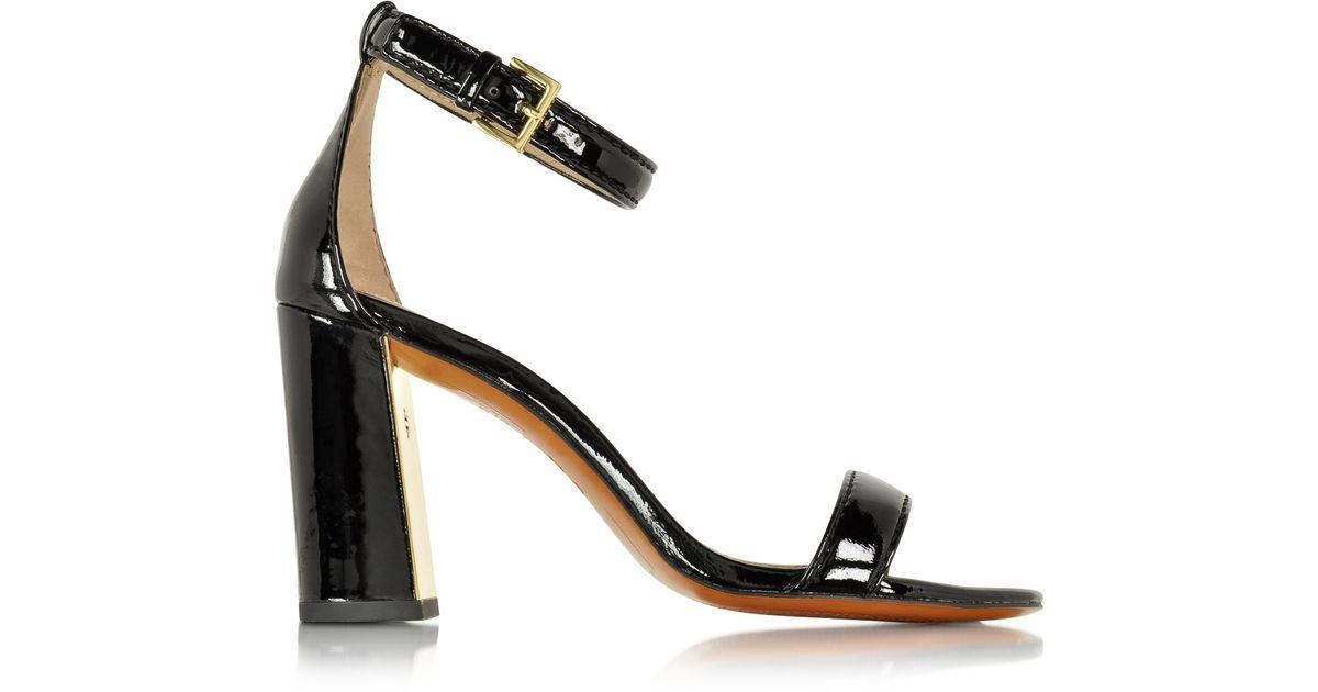 c6f44a1ece385 Lyst - Tory Burch Cecile Black Leather Heel Sandal in Black