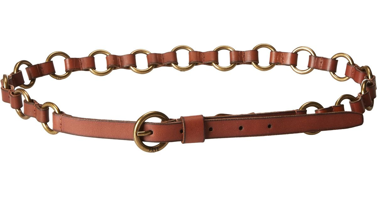 Lyst - Frye 13mm Leather And Metal Ring Belt On Logo Harness Buckle