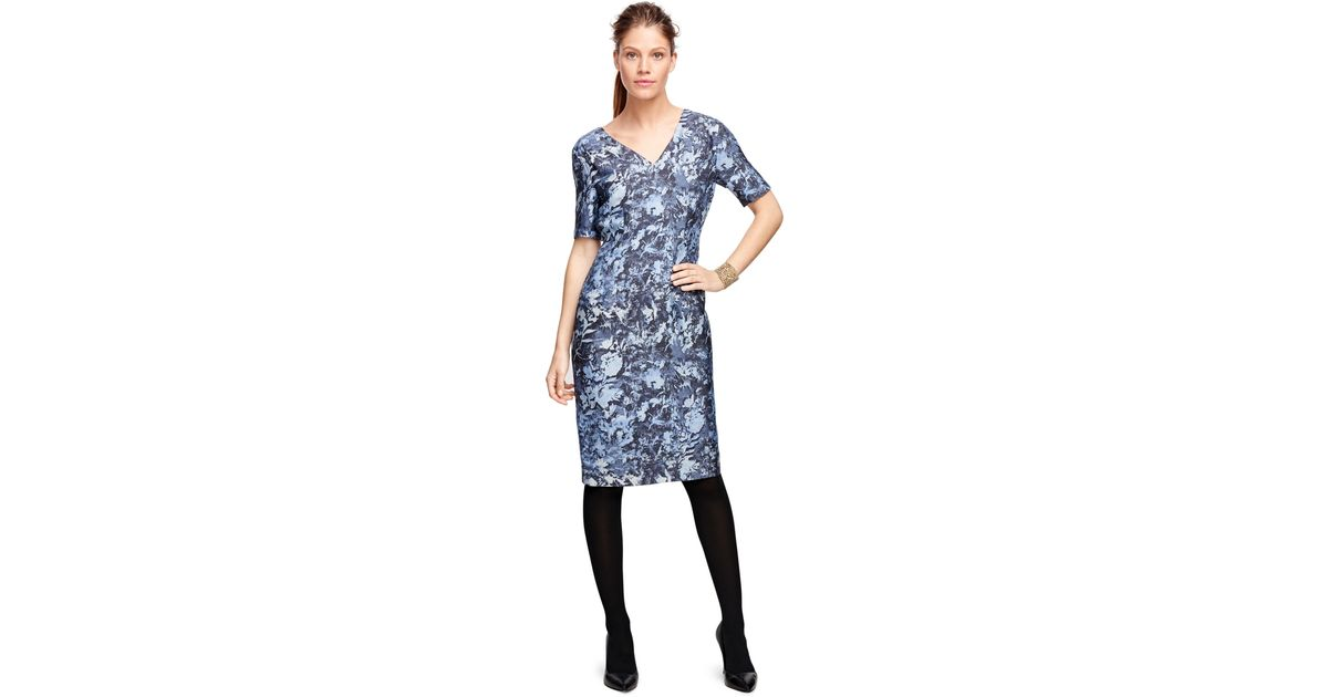 Brooks brothers Silk And Wool Floral Print Dress in Blue ...