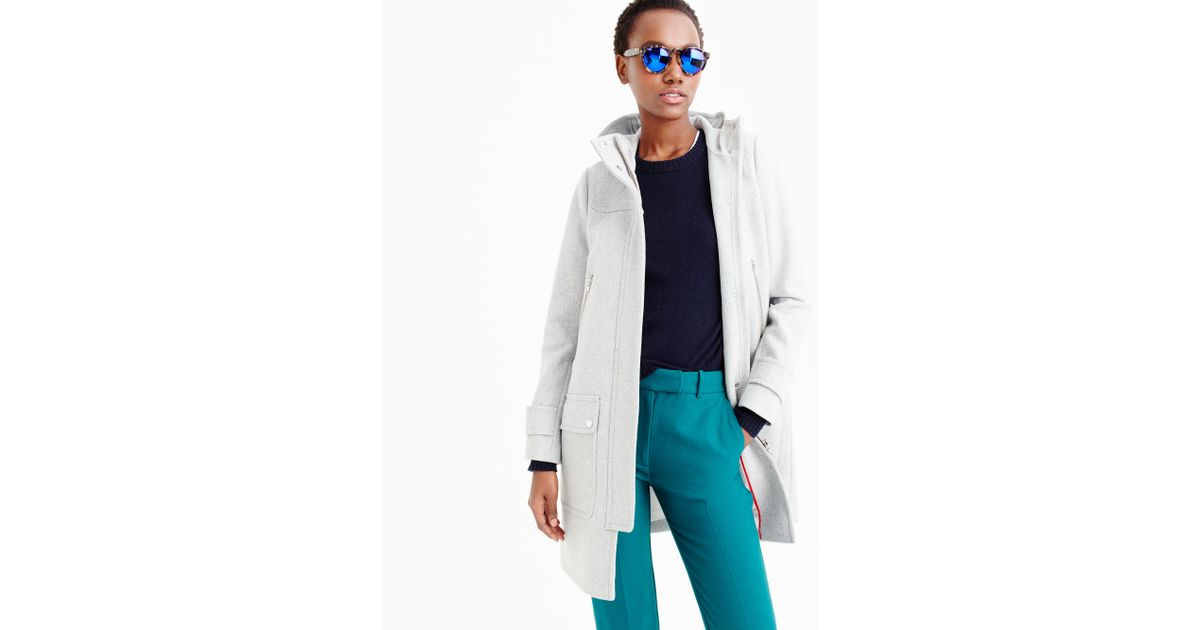J.crew Wool Melton Duffle Coat in Gray | Lyst