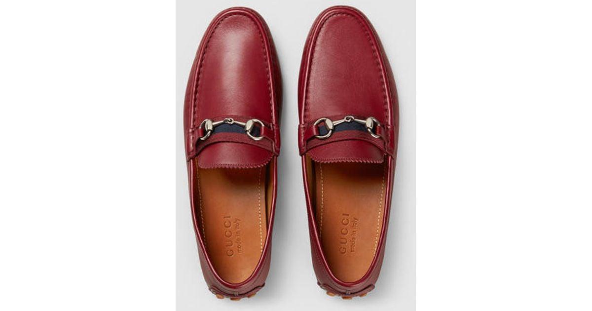 73583539 Gucci Red Men's Horsebit Leather Driver for men
