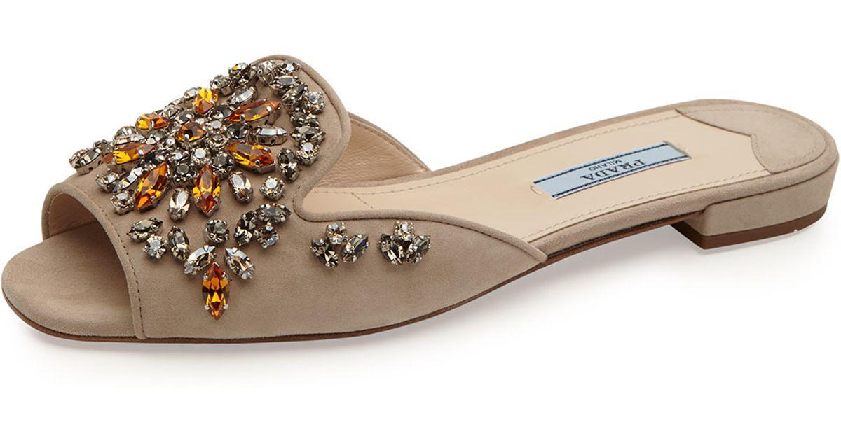 crystal studded flat slides - Brown Prada p5LgMl3li