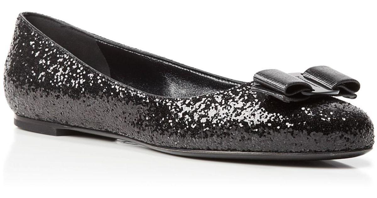 7e30e811e Ferragamo Ballet Flats - Varina Glitter in Black - Lyst