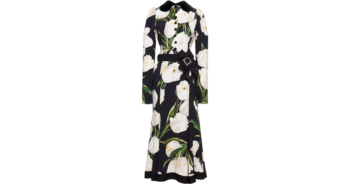 58bcce5a Dolce & Gabbana Belted Tulip Print Dress - Lyst