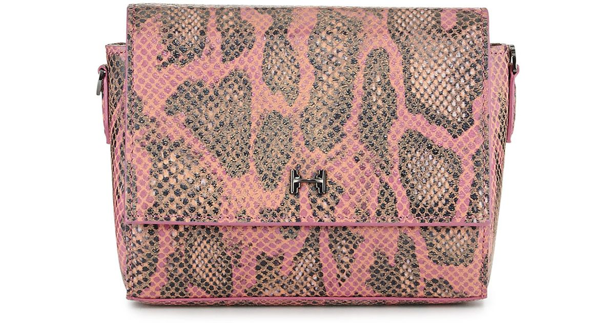 efb63edc0c Lyst - Halston Snake-print Leather Wallet Clutch Bag in Pink