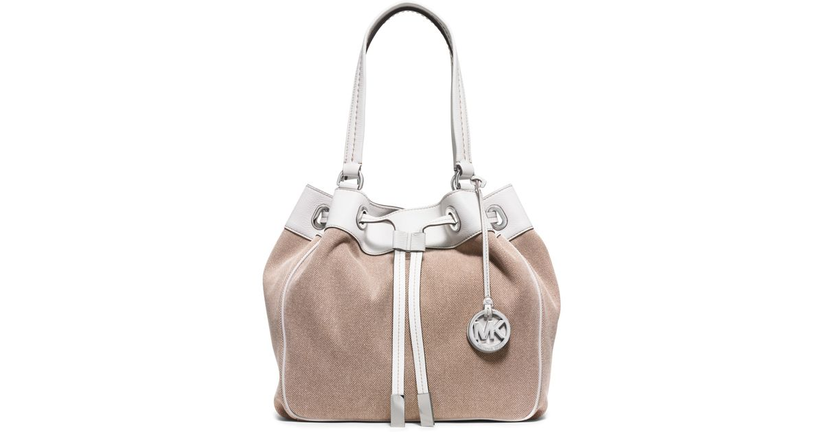 Bolsa Michael Kors Marina : Michael kors marina large canvas drawstring tote in