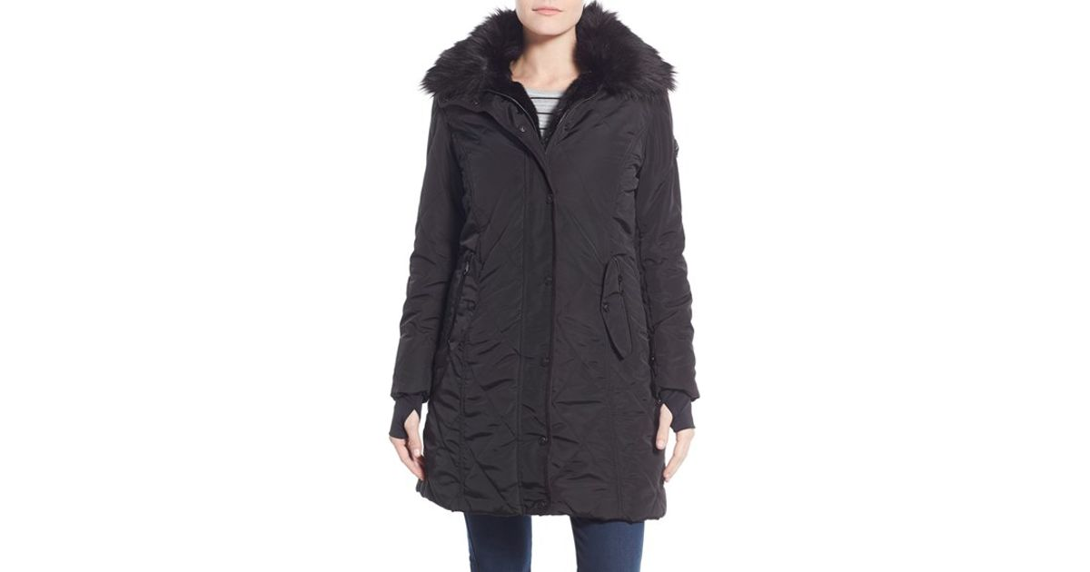 e3186d75fd01 Lyst - Nanette Lepore Faux Fur Lined Quilted Coat in Black