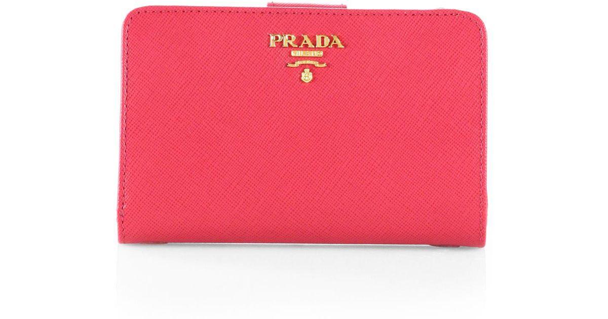 125940f1456a ... uk lyst prada saffiano leather wallet in pink 655b9 347fc
