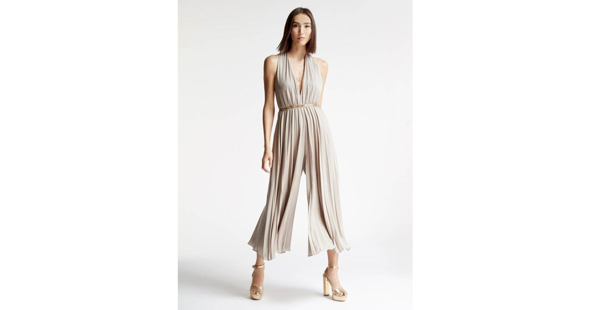 a28d3ec5225 Halston Pleated Satin Georgette Jumpsuit in Natural - Lyst