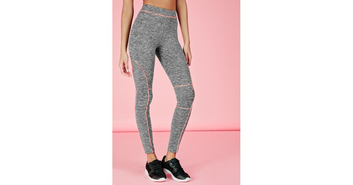 e3fe3cc4284f1 Missguided Active Contrast Piping Gym Leggings Grey in Gray - Lyst