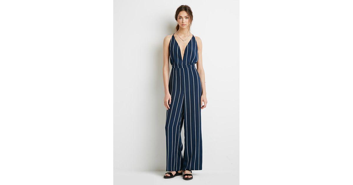 4ed0b6ba971 Forever 21 Striped Halter Jumpsuit in Blue - Lyst