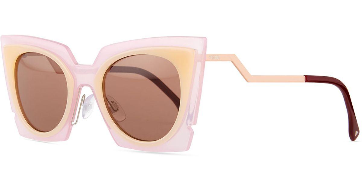 d3c5d1a188 Lyst - Fendi Runway Cat-eye Sunglasses in Pink