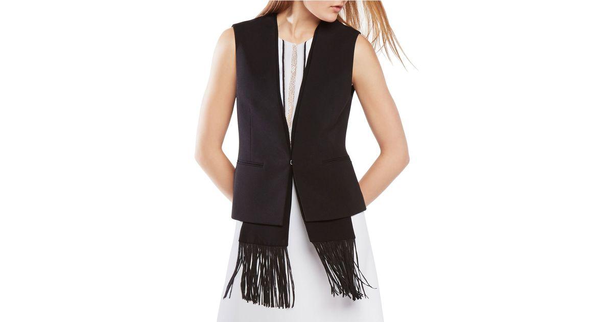 Bcbgmaxazria jared fringe scarf vest in black lyst