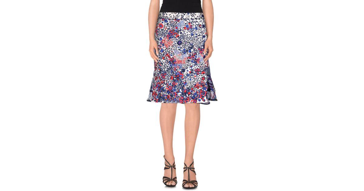 sacai knee length skirt in blue lyst
