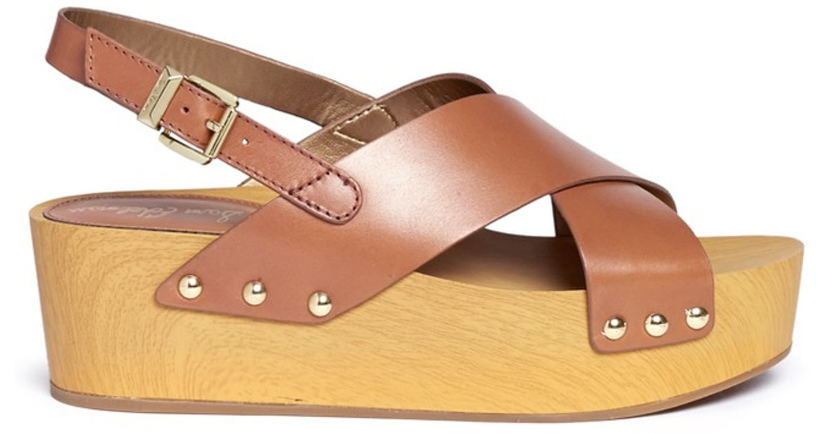 f417ce6b5d6 Lyst - Sam Edelman  bentlee  Leather Wooden Clog Platform Sandals in Brown
