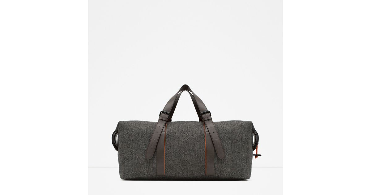 Zara Canvas Duffel Bag In Gray For Men Lyst