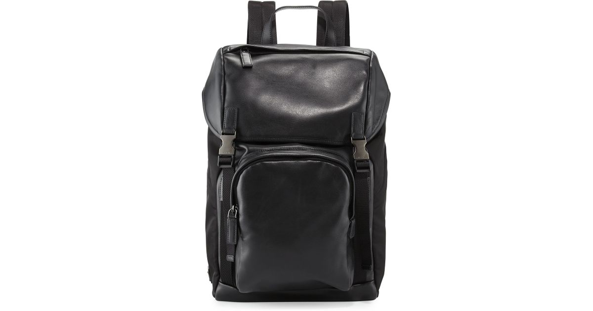 prada handbag on sale - Prada Men's Leather & Nylon Backpack in Black for Men | Lyst
