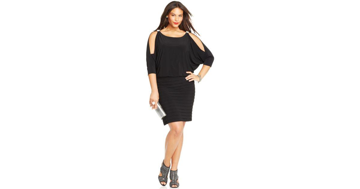 Xscape Black Plus Size Cold-Shoulder Blouson Dress