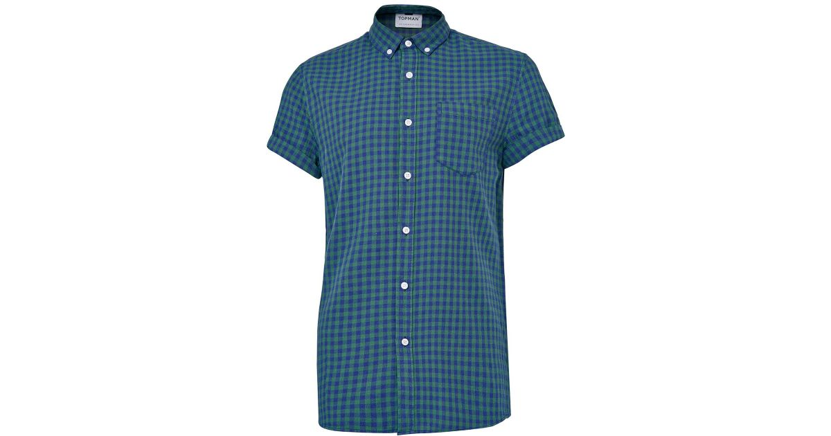 Topman navy green gingham short sleeve casual check shirt for Navy blue gingham shirt
