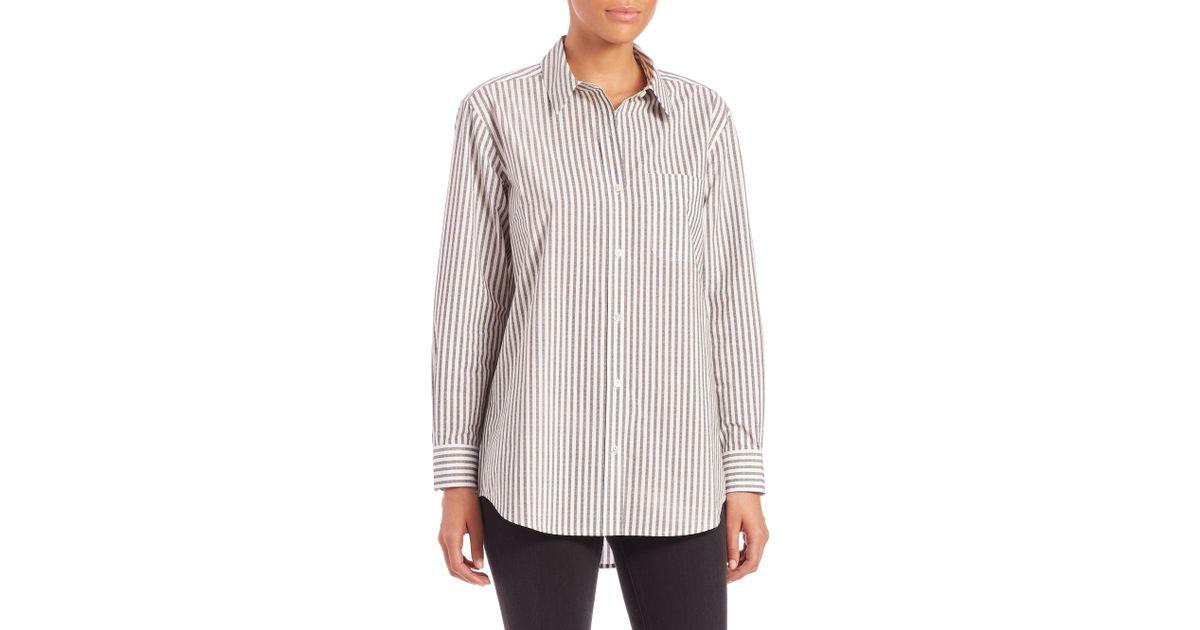 1feffbf19b8c36 Lyst - Equipment Daddy Stripe Cotton Shirt in Gray