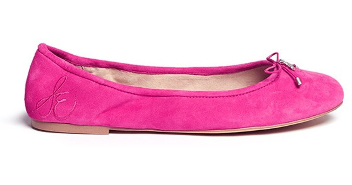 68a4453aac8b64 Lyst - Sam Edelman  felicia  Suede Ballerina Flats in Pink