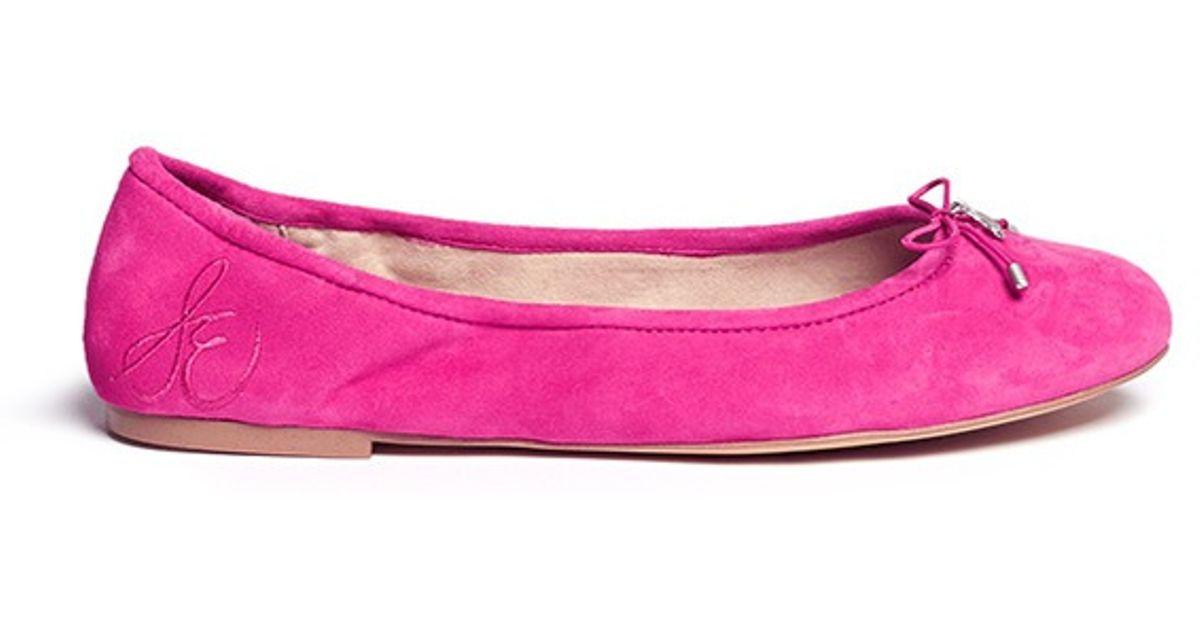 4ce2e7e766437a Lyst - Sam Edelman  felicia  Suede Ballerina Flats in Pink