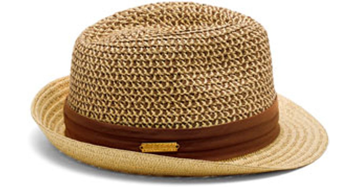 082759cd7 Vince Camuto Brown Patterned Crown Straw Fedora