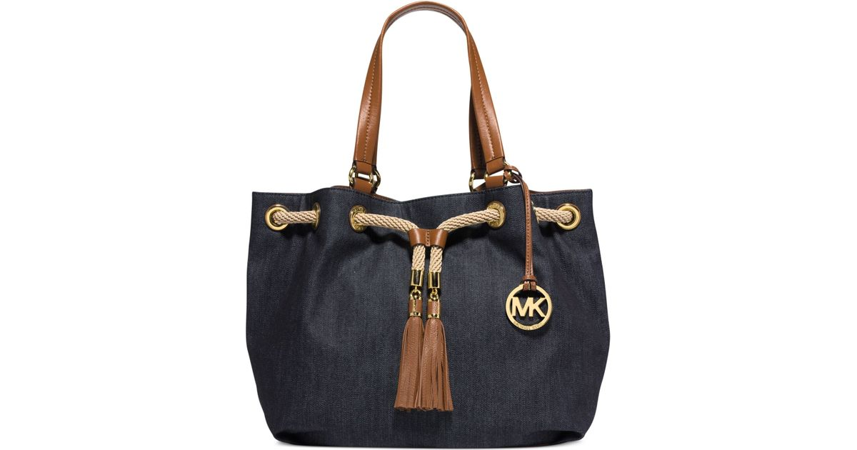 f05aaec13df9 ... france lyst michael kors michael marina large gathered tote in blue  26054 f8b38