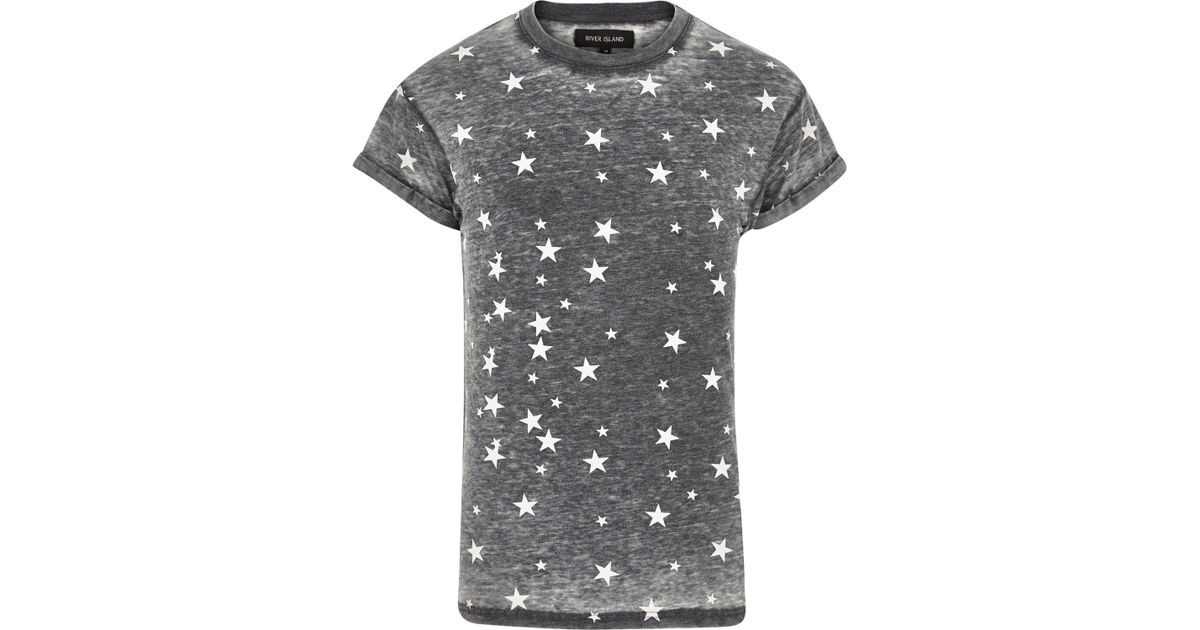 River Island Grey Star Tshirt Women