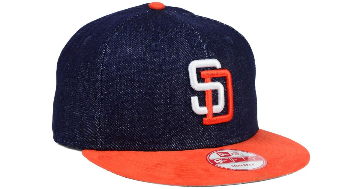 new styles d1f03 6aee9 ... where to buy lyst ktz san diego padres denim suede 9fifty snapback cap  in blue for