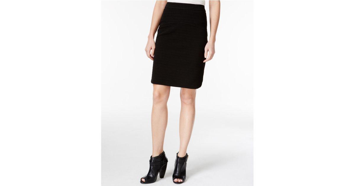 kensie ribbed knit pencil skirt in black lyst