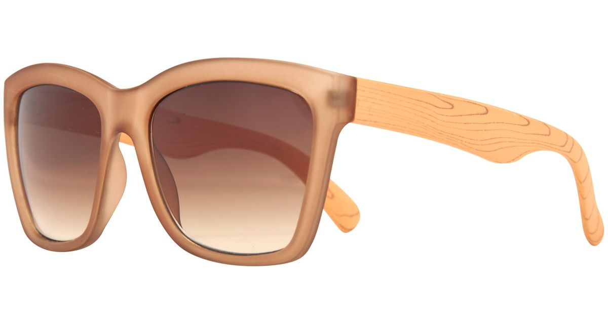 307fcd1954455 John Lewis Angled Frame Faux Wood Arm Sunglasses in Brown - Lyst