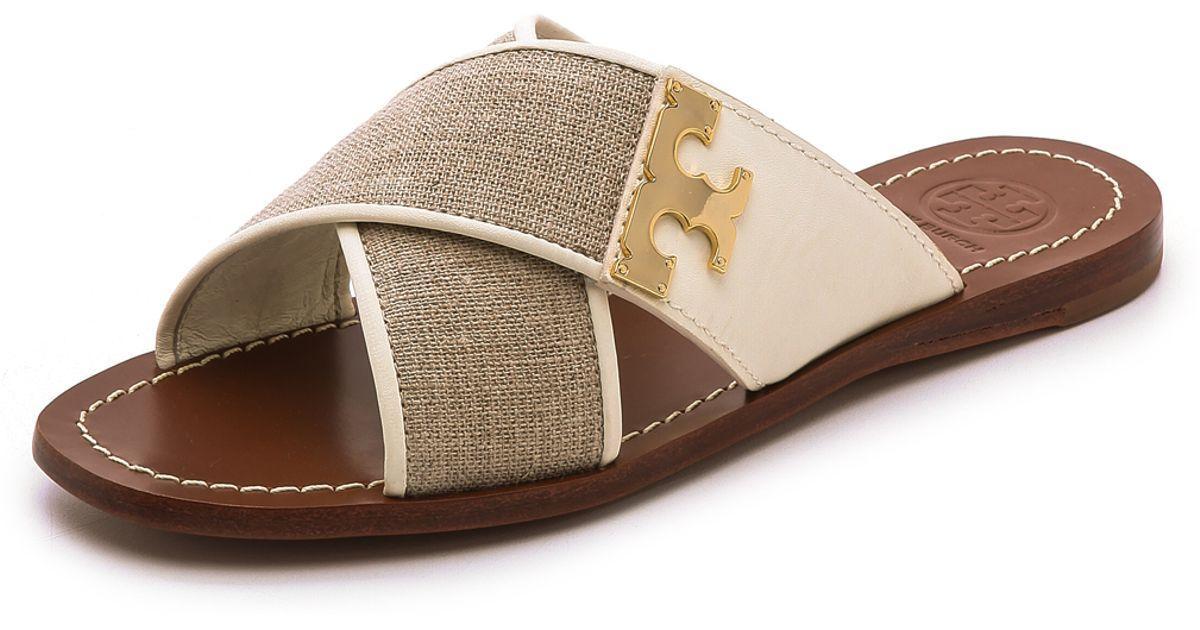 45965f353e45 Lyst - Tory Burch Culver Flat Slide Sandals - Natural Black in Natural